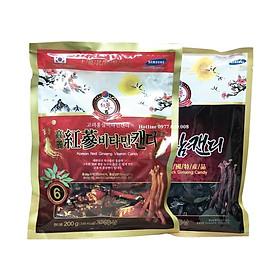 Combo kẹo Hồng Sâm Vitamin 200g và Kẹo Hắc Sâm  300g Hàn Quốc