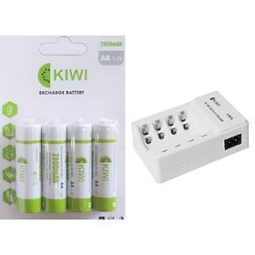 Combo 1 Vỉ 4 viên Pin sạc Kiwi 2800mAh và dock sạc pin 4 viên dùng bền ổn sạc nhanh 1.2V AA hàng chính hãng