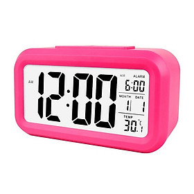 Smart Digital Alarm Clock with Date and Temperature Snooze Button on Top Battery Operated Rectangle Desk Clock with