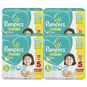 Combo 4 Tã Dán Pampers Baby Dry Gói Đại - Size L L30 (30 Miếng)