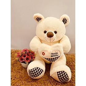Thú bông Gấu trắng ôm tim 80cm