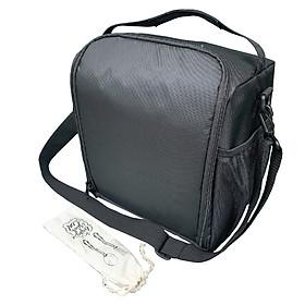 Túi Đựng Hộp Cơm Giữ Nhiệt Văn Phòng Size Lớn Màu Đen Có Dây Kéo Vừa Quai Xách Quai Đeo Ngăn Phụ Trong Ngoài Tặng Túi Muỗng Nĩa (Lunch Bags, Box)