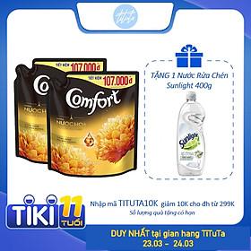 Combo 2 Nước Xả Vải Comfort Hương Nước Hoa Thiên Nhiên Sophia (Vàng Đen) 2.4L