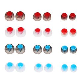 12 Pairs 24 PCS L M S 4.5mm Soft Silicone In-Ear Earphone Covers Earbud Tips Earbuds Eartips Dual Color Ear Pads Cushion