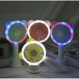 Quạt mini cầm tay để bàn có đèn led - Giao màu ngẫu nhiên