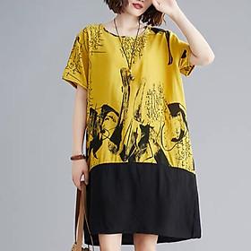 Đầm suông đũi lụa họa tiết vàng phối màu ArcticHunter, thời trung niên, thương hiệu chính hãng