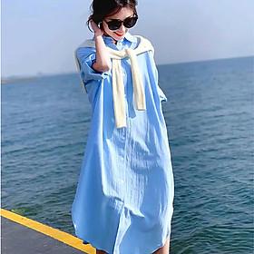Đầm suông sơ mi chất vải đũi form rộng trẻ trung - Xanh dương