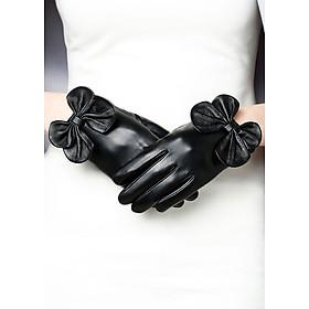 Găng tay da cừu nữ đính nơ BH6731