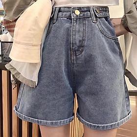 Quần Short Jeans Lưng Cao Ống Rộng Phối 2 Nút - 0051