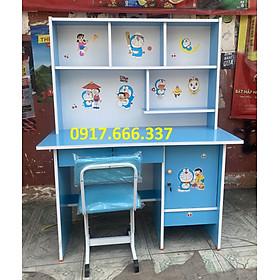 Bộ bàn ghế học sinh màu xanh dương cho bé 1mx1m45 tặng kèm hình dán Doraemon cho bé  - NTQH03