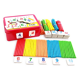Children's Arithmetic Stick Wooden Counting Sticks Rods Math Educational Toy with a Metal Storage Box for Kids Toddlers