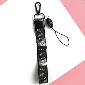 Hình đại diện sản phẩm Móc khóa dây Strap dây vải ngắn hình con mèo - đen