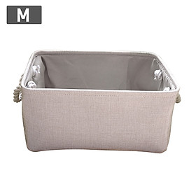 Home Fabric Storage Bins Folding Organizer with Cotton Rope Handle Collapsible Cube Cotton Linen Basket Container Box
