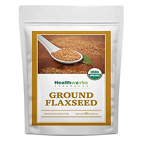 Healthworks Flax Seed Ground Powder Cold Milled Raw Organic (32 Ounces / 2 Pounds)   All-Natural   Contains Protein, Fiber, Omega 3 & Lignin/Lignan   Smoothies, Coffee, Shakes & Oatmeal