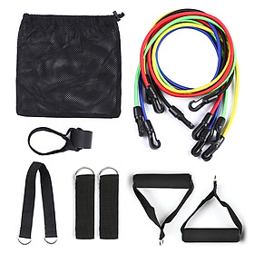 11pcs Resistance Bands Set Workout Fintess Exercise Tube Bands Door Anchor Ankle Straps Cushioned Handles with Carry-5