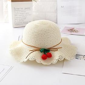 Mũ cói cherry cho bé gái đi biển dễ thương 2- 6 tuổi