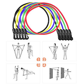 11pcs Resistance Bands Set Workout Fintess Exercise Tube Bands Door Anchor Ankle Straps Cushioned Handles with Carry-6