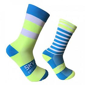 Cycling Socks Moisture-wicking Bike Socks Men Women Sports Running Gym Training Striated Socks Size 7-12