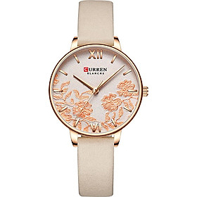 CURREN 9065 Elegant Exquisite Casual Business Quartz Women Watch Sakura Flower Embossed Simple Wrist Watch 3ATM