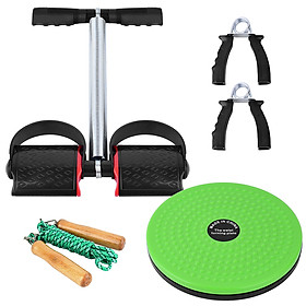 5 PCS Fitness Set with Spring Pedal Puller Waist Twist Board Hand Grip Adjustable Jump Rope for Home Office Gym-7