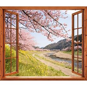 Tranh dán tường cửa sổ gỗ 3D cảnh hoa đào VTC GO0216-1