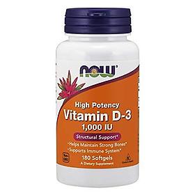 Viên Uống Now Bổ Sung Vitamin D-3 1,000 IU Hỗ Trợ Cấu Trúc Xương