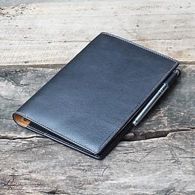 Sổ tay da thật Handmade - Đen Hạt (Bìa da bò thật, may tay thủ công, 180 trang giấy sẵn dễ dàng thay giấy khi dùng hết)