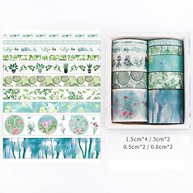 Bộ 10 Băng Keo Giấy Washi Tape Trang Trí Sổ Lưu Niệm, Lưu Bút, Nhật Ký Dễ Thương, Sáng Tạo Handmade DIY