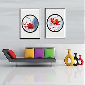 Tranh bộ đôi cá chép sen đỏ trang nhã Thế Giới Tranh Đẹp POST-04