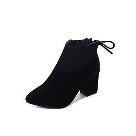 Giày Bốt Nữ Da Lộn Gót Cao 6CM Khóa Kéo Bên Hông 3Fashion - MSP 3057