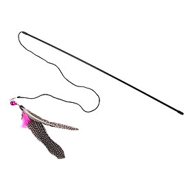Trick Cat Birds Kitten Stick Wand Teaser Toy Playing Long Feather Plastic