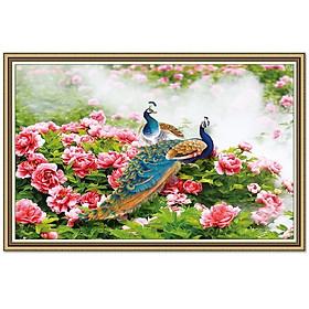 Tranh dán tường trang trí phòng ngủ đôi chim công bên hoa mẫu đơn LunaTM-0239K