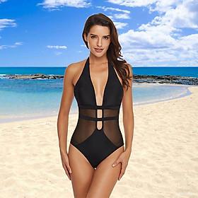 Women One Piece Swimsuit See Through Mesh Halter Plunge V Neck Backless Padded Wireless Bodysuit Bikini Beach Pool