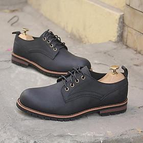 Giày nam cao cấp da bò Kingman Men822 đen sáp chính hãng Menup