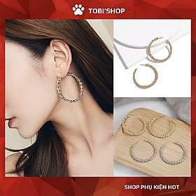 Khuyên tai nữ tròn to bông tai tròn to kiểu cách TB70 - TOBI'SHOP