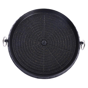 Korean Round Alloy Barbecue BBQ Grill Plate Pan for Camping Indoor Outdoor