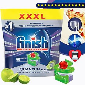 Túi 60 viên rửa chén Finish Quantum Max Dishwasher Tablets Apple Lime Blast QT025461 - hương chanh, táo