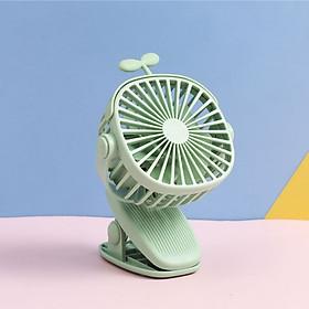 Quạt Sạc Mini Xoay Góc 720 Độ, Đế Kẹp Đa Năng Hoặc Đặt Bàn Với 3 Nấc Điều Chỉnh Gió Tích Hợp Đèn Ngủ (Hoạt Hình Style)