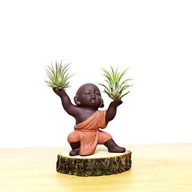 Tượng phật chú tiểu kung fu gốm tử sa MD 36