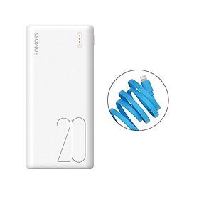 Pin sạc dự phòng 20.000mAh Romoss Simple 20 nhỏ gọn 3 cổng input Micro - Lightning - Type C – Hàng Chính Hãng + Tặng cáp lightning iPhone CB12f Romoss