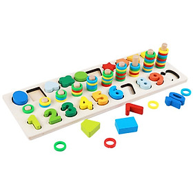 Children's Educational Toys Kindergarten 2-6 Years Od Early Education Puzzle Three In One Shape Digital Logarithmic Board Toy