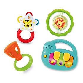 Set 4 món đồ chơi âm nhạc đàn piano mini kèm xúc xắc lục lạc cầm tay WINFUN 3130 cho bé 3 tới 18 tháng - BPA free