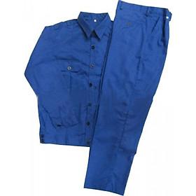 Bộ áo và quần bảo hộ lao động vải kaki xanh công nhân