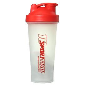 Bình lắc Shaker pha sữa cho người tập GYM hiệu TCSPORTFOOD - Bình nước thể thao Shaker 600 ml - Màu trắng nắp đỏ