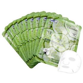 Bộ 10 Gói Mặt Nạ Dưỡng Da Mềm Mịn Chiết Xuất Dưa Chuột 3W Clinic Fresh Cucumber Mask Sheet (23ml X 10)