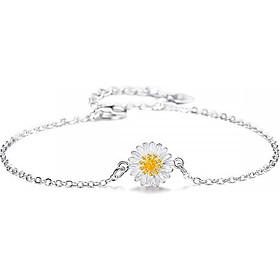 Lắc tay lắc chân nữ hoa cúc nhỏ bạc s925