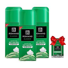 Combo 3 Chai Bọt cạo râu Romano Classic (175ml*3)+Tặng kèm nước hoa Bỏ túi Romano 18ml
