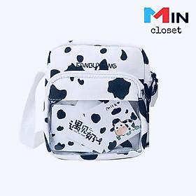 Túi Bò Sữa    Túi Vải đeo chéo Canvas Nam Nữ Phong cách Hàn Quốc TV11