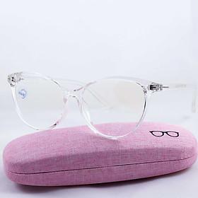 Gọng kính nhựa trong suốt, đã lắp sẵn tròng 0 độ, dễ dàng thay thế mắt cận, chống tia UV TR8537 giá tốt, tặng kèm hộp thời trang