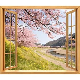 Tranh dán tường cửa sổ gỗ 3D cảnh hoa đào VTC GO0216-2C1